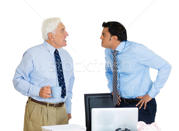 Idős alkalmazott konfliktus közelkép portré üzletemberek Stock fotó © ichiosea