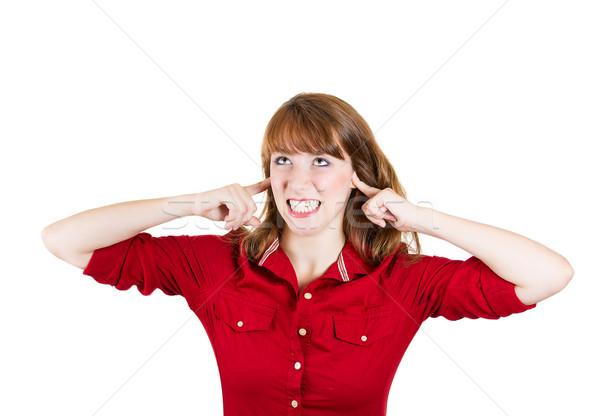 Luid lawaai portret jonge boos Stockfoto © ichiosea
