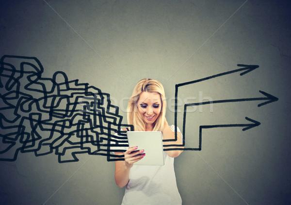 Nő táblagép gondolatok együtt tervez izolált Stock fotó © ichiosea