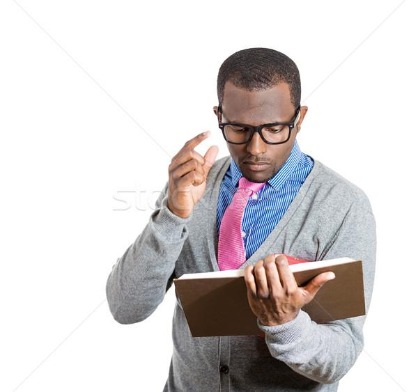 Foto stock: Hombre · lectura · primer · plano · retrato · joven · amplio