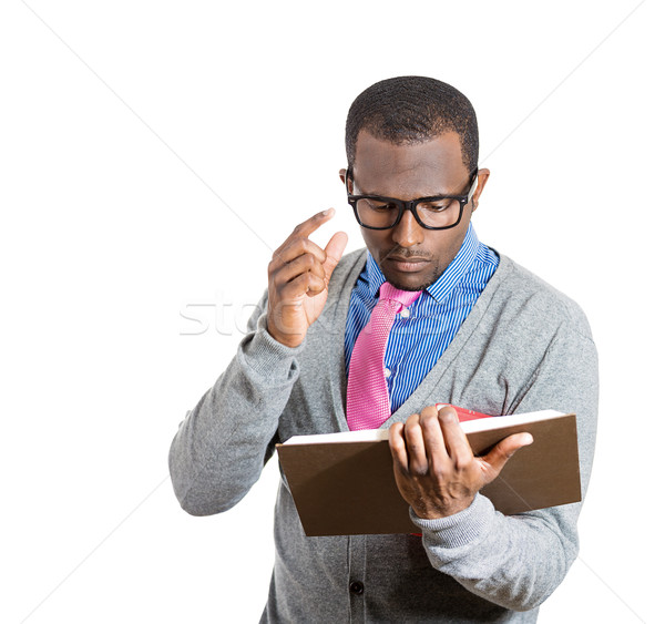 Mann Lesung Porträt junger Mann breite Stock foto © ichiosea