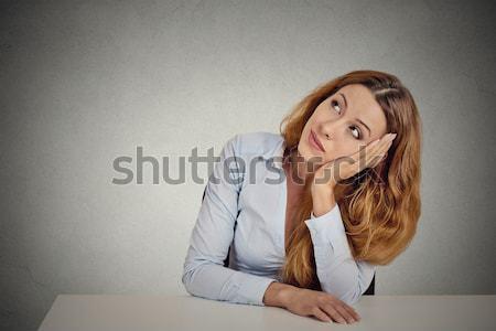 Business woman posiedzenia laptop portret młodych Zdjęcia stock © ichiosea