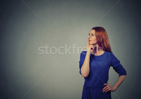 портрет счастливым красивая женщина мышления изолированный Сток-фото © ichiosea