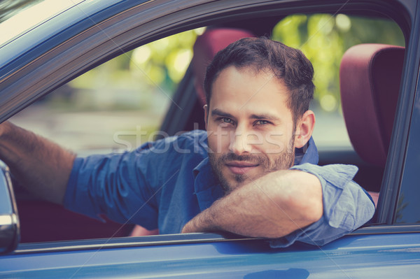 man buyer sitting in new car isolated outside dealership lot  Stock photo © ichiosea