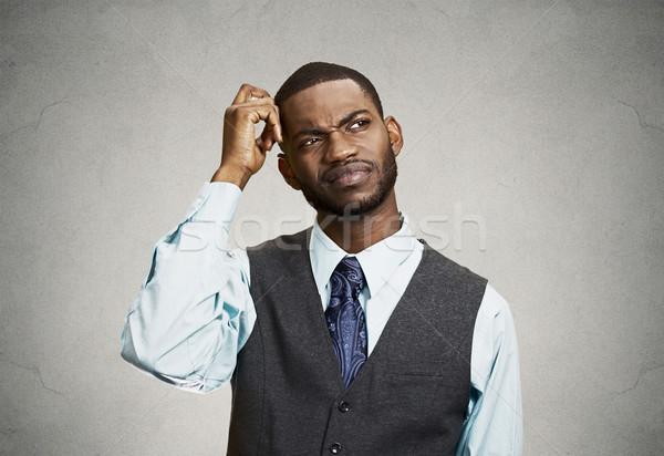 Confuso homem de negócios curto perda de memória retrato Foto stock © ichiosea