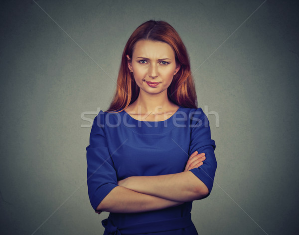 angry young woman, being skeptical, displeased Stock photo © ichiosea