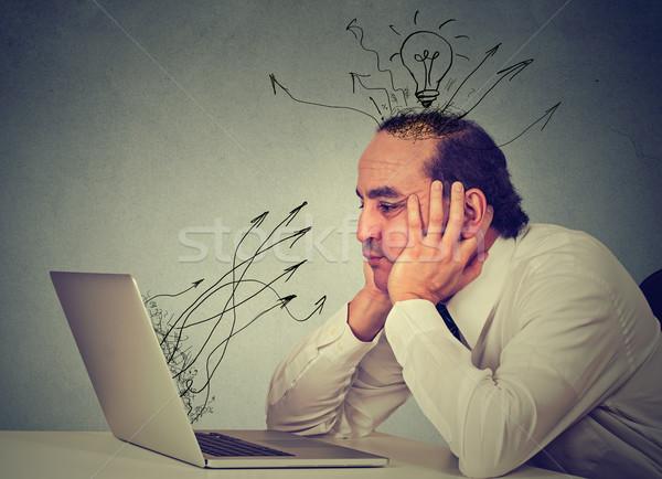 üzletember dolgozik számítógép iroda üzlet arc Stock fotó © ichiosea