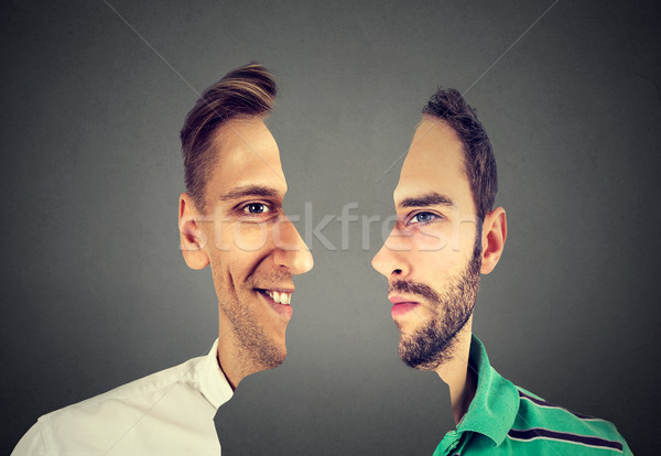 surrealistic portrait front with cut out profile of two young men  Stock photo © ichiosea