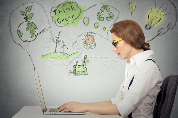 Vrouw werken computer ecologie hernieuwbare energie probleem Stockfoto © ichiosea