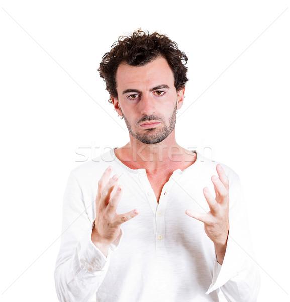 Zavarodottság közelkép portré fiatal üzletember gondolkodik Stock fotó © ichiosea
