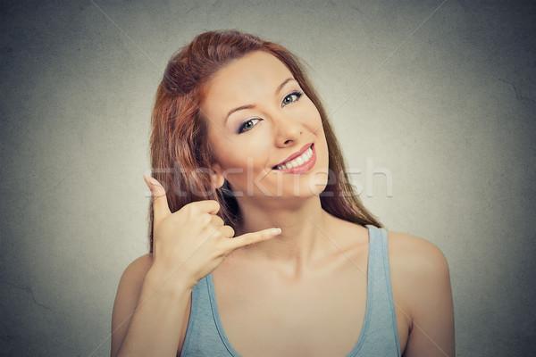 Femme appelez-moi geste signe Photo stock © ichiosea