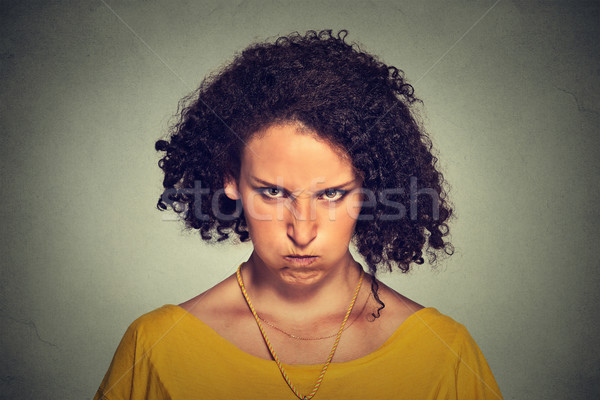 Stock photo: angry young woman, nervous, upset, about to have nervous breakdown