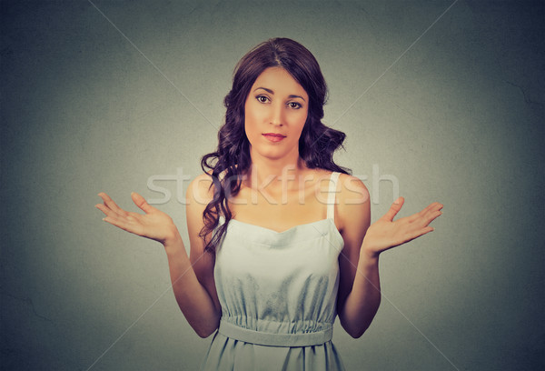 woman arms out shrugs shoulders who cares so what I don't know  Stock photo © ichiosea