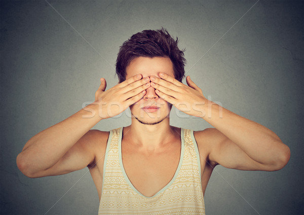 man covering eyes with hands cant see, hiding Stock photo © ichiosea