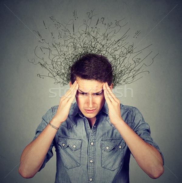 Triest man gezicht hersenen Stockfoto © ichiosea