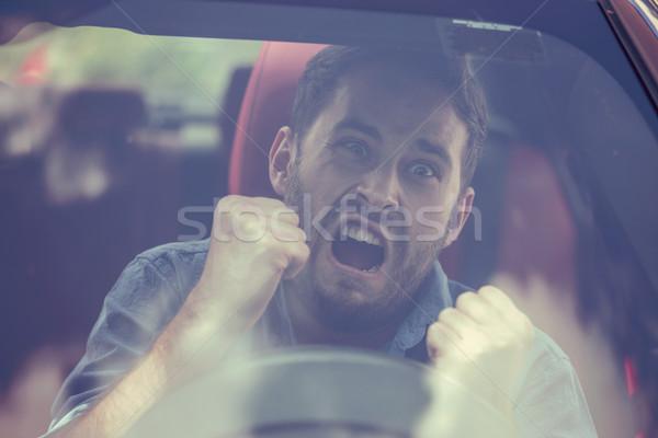 Szélvédő kilátás mérges sofőr férfi negatív Stock fotó © ichiosea