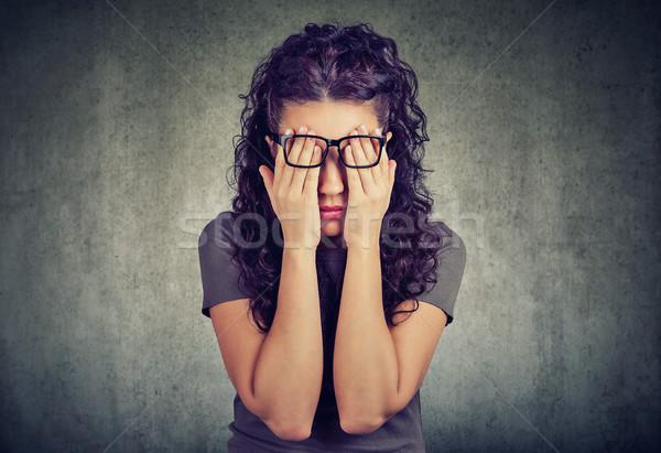 очки лице глазах оба рук Сток-фото © ichiosea