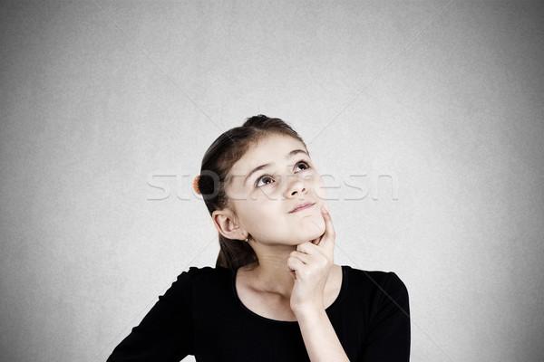 Szomorú álmodozás kislány közelkép portré komoly Stock fotó © ichiosea