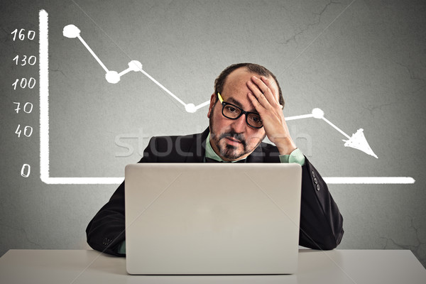 stressed man sitting at table with financial chart going down  Stock photo © ichiosea