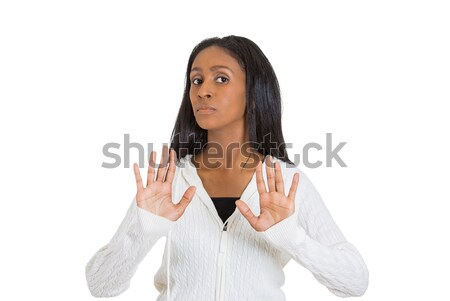 displeased woman raising hands up to say no stop right there Stock photo © ichiosea