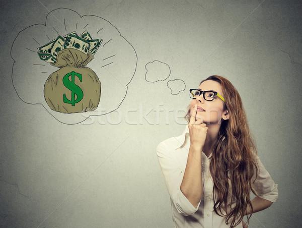 Frau träumen finanziellen Erfolg Geld Gesicht Stock foto © ichiosea