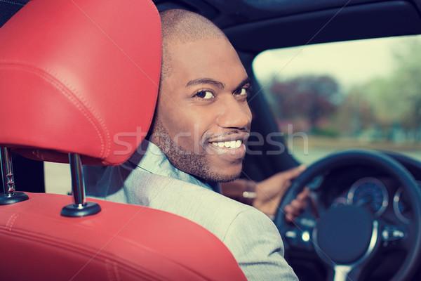 ハンサム 若い男 新しい車 運転 肖像 幸せ ストックフォト © ichiosea
