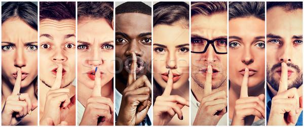 Groupe de gens hommes femmes doigt lèvres geste Photo stock © ichiosea