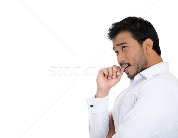 Homme perdu pensées portrait doigt Photo stock © ichiosea