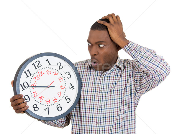 businessman holding clock pressured by lack of time Stock photo © ichiosea