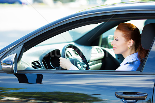 Kadın sürücü araba trafik kurallar portre Stok fotoğraf © ichiosea