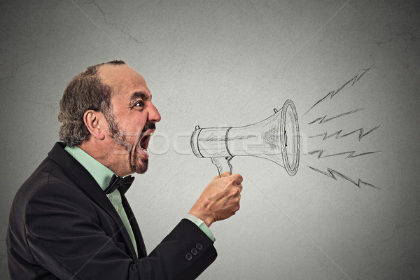 Angry screaming man holding megaphone Stock photo © ichiosea