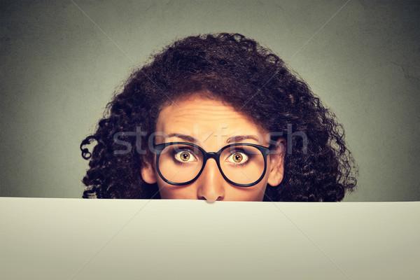 Stock fotó: Szalag · felirat · nő · szemüveg · perem · üres