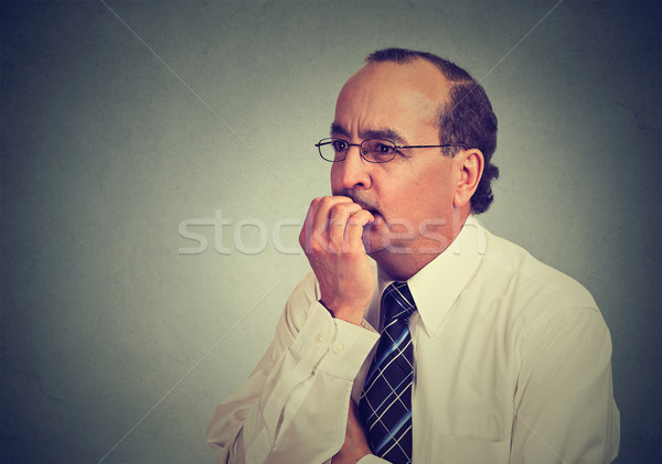 Side profile preoccupied anxious concerned middle aged business man in glasses  Stock photo © ichiosea