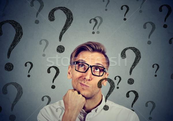 Figyelmes zavart jóképű férfi sok kérdések nem Stock fotó © ichiosea