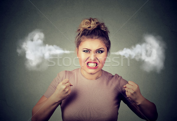 angry woman blowing steam coming out of ears about to have nervous breakdown screaming Stock photo © ichiosea