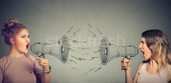 Brigar duas mulheres gritando outro megafone negócio Foto stock © ichiosea
