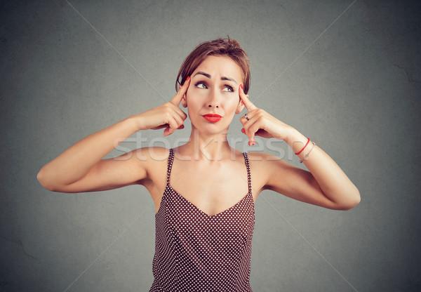 Kobieta myśli myślenia coś patrząc wątpić Zdjęcia stock © ichiosea
