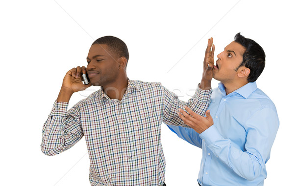 man knocks off another guy while talking over the phone Stock photo © ichiosea