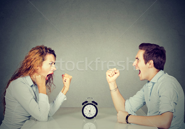 Man and woman mad angry with each other having disagreement screaming   Stock photo © ichiosea