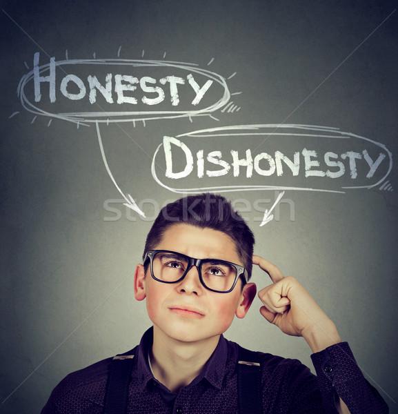 Człowiek decyzja szczerość vs nieuczciwość Zdjęcia stock © ichiosea
