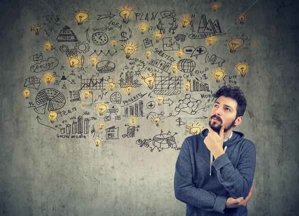 Man business plan geest creatieve jonge man Stockfoto © ichiosea