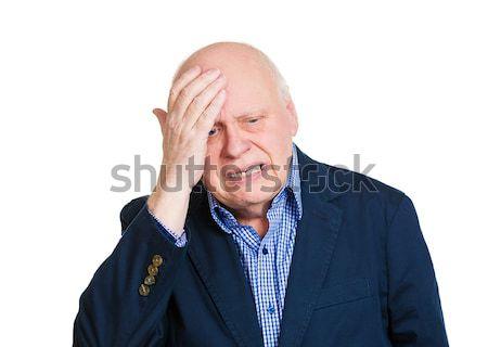 Fejfájás közelkép portré öreg hangsúlyos férfi Stock fotó © ichiosea