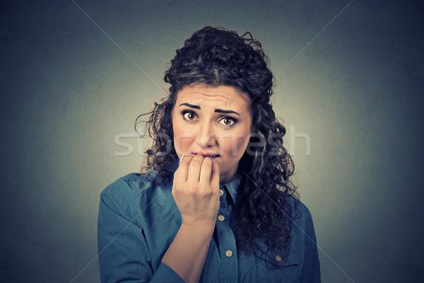 Closeup portrait of worried woman Stock photo © ichiosea
