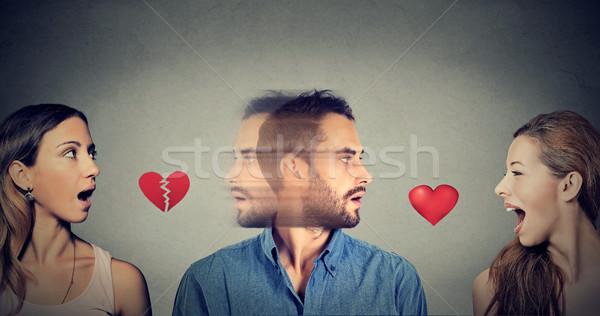 Nowego stosunku miłości trójkąt młody człowiek inny Zdjęcia stock © ichiosea