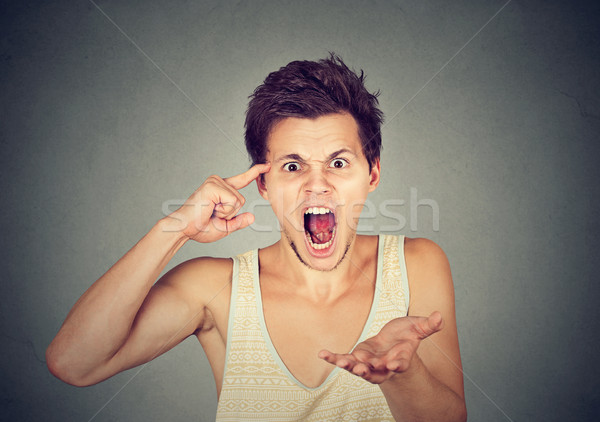 angry screaming man gesturing with his finger are you crazy?  Stock photo © ichiosea