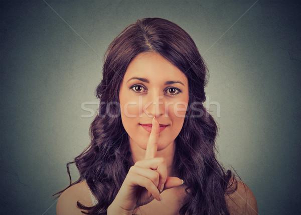 沈黙 ジェスチャー クローズアップ 若い女性 指 ストックフォト © ichiosea