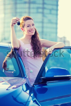 Feliz coche conductor mujer sonriente coche nuevo Foto stock © ichiosea
