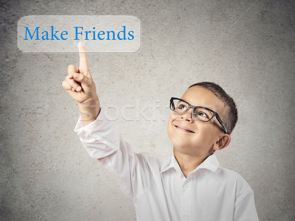 Menino amigos botão retrato Foto stock © ichiosea