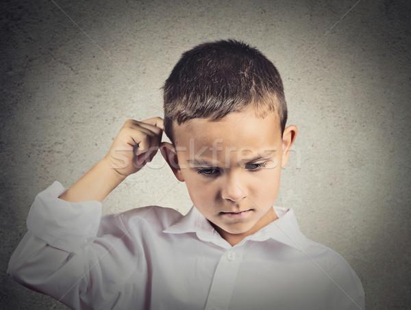Gondolkodik gyermek hát fej izolált szürke Stock fotó © ichiosea