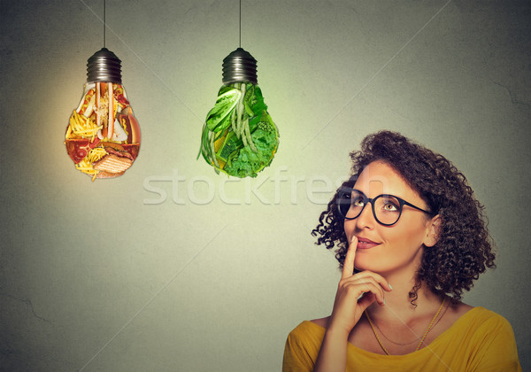 woman thinking looking up at junk food and green vegetables shaped as light bulb Stock photo © ichiosea